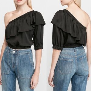 Express One Shoulder Ruffle Banded Bottom Top